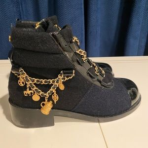 Chanel Combat Boot Charm Chain Flat Ankle